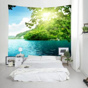 Mountain Sunlight Lake Print Tapestry Wall Hanging Art Decoration - GREEN W79 INCH * L59 INCH