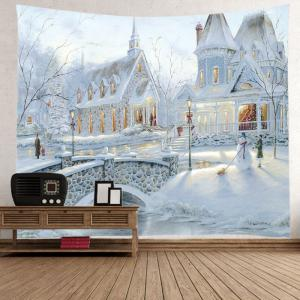 Snow House Print Tapestry Wall Hanging Art Decoration - WHITE W79 INCH * L71 INCH