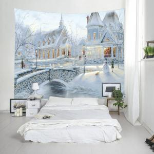 Snow House Print Tapestry Wall Hanging Art Decoration - WHITE W91 INCH * L71 INCH