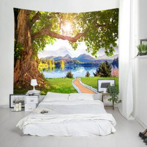 Mountains Lake Path Print Tapestry Wall Hanging Art Decoration - GREEN W59 INCH * L59 INCH