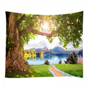 Mountains Lake Path Print Tapestry Wall Hanging Art Decoration - GREEN W79 INCH * L59 INCH