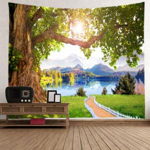 Mountains Lake Path Print Tapestry Wall Hanging Art Decoration - GREEN W91 INCH * L71 INCH