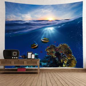 Ocean Fish Print Tapestry Wall Hanging Art Decoration - DEEP BLUE W79 INCH * L71 INCH