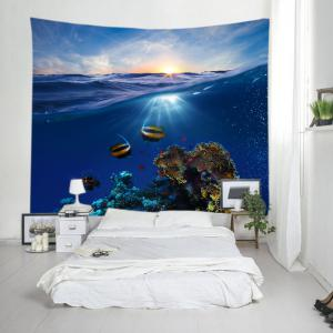 Ocean Fish Print Tapestry Wall Hanging Art Decoration - DEEP BLUE W91 INCH * L71 INCH