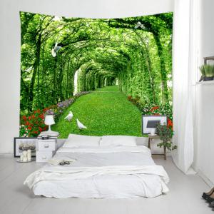 Tree Floral Path Print Tapestry Wall Hanging Art Decoration - GREEN W91 INCH * L71 INCH