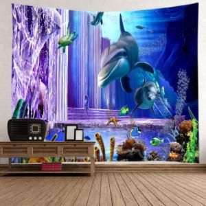Ocean Dolphin Fishes Print Tapestry Wall Hanging Art Decoration - DEEP BLUE W59 INCH * L59 INCH