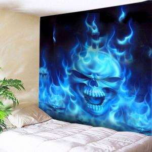 Flame Skull Print Tapestry Wall Hanging Art Decoration - Blue - W79 Inch * L71 Inch