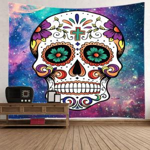 Galaxy Floral Skull Print Tapestry Wall Hanging Art Décoration - Multicolore Largeur 59pouces*Longeur 51pouces