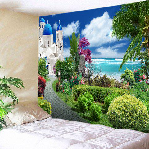 Sea Castle Garden Print Tapestry Wall Hanging Art Decoration - Green - W91 Inch * L71 Inch