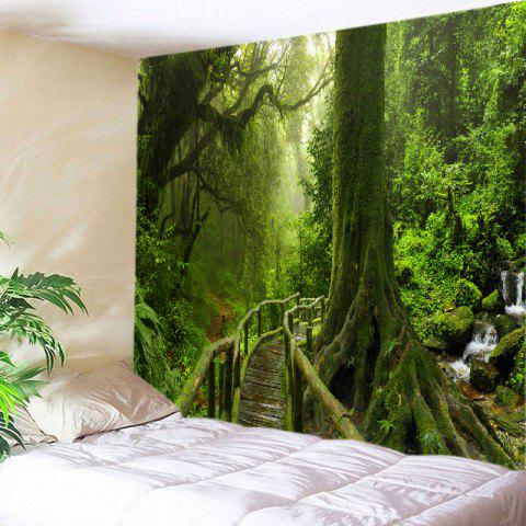 Sale Forest Bridge Falls Print Tapestry Wall Hanging Art Decoration GREEN W59 INCH * L51 INCH