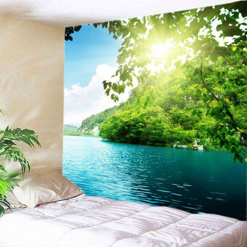 Mountain Sunlight Lake Print Tapestry Wall Hanging Art Decoration - Green - W91 Inch * L71 Inch