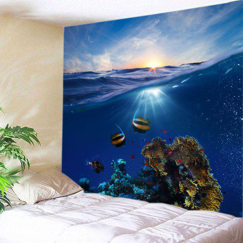 Best Ocean Fish Print Tapestry Wall Hanging Art Decoration - W59 INCH * L59 INCH DEEP BLUE Mobile