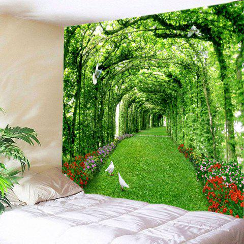 Discount Tree Floral Path Print Tapestry Wall Hanging Art Decoration GREEN W91 INCH * L71 INCH