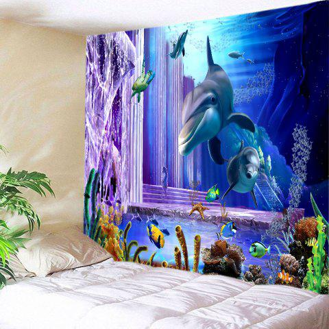 Ocean Dolphin Fishes Print Tapestry Wall Hanging Art Decoration - Deep Blue - W79 Inch * L59 Inch