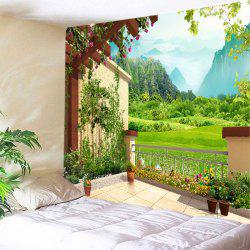 Floral Pergola Mountains Print Tapestry Wall Hanging Art Decoration - GREEN W79 INCH * L59 INCH