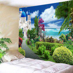 Sea Castle Garden Print Tapestry Wall Hanging Art Decoration - GREEN W79 INCH * L59 INCH