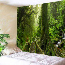 Forest Bridge Falls Print Tapestry Wall Hanging Art Decoration - GREEN W91 INCH * L71 INCH