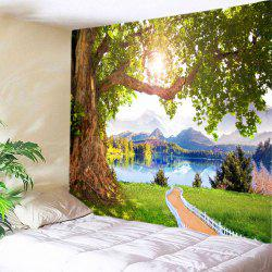 Mountains Lake Path Print Tapestry Wall Hanging Art Decoration - GREEN W79 INCH * L71 INCH