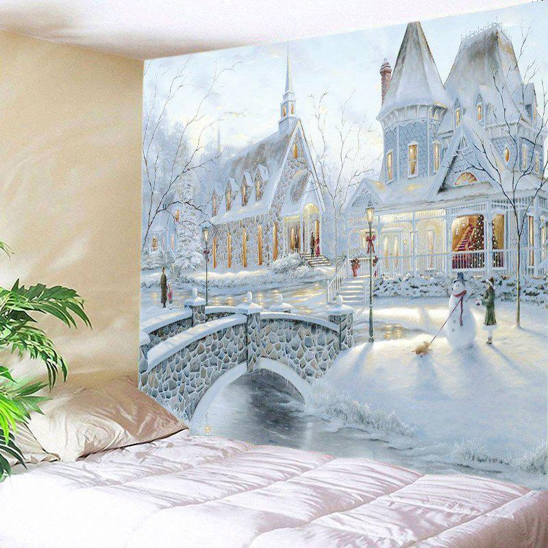 Snow House Print Tapestry Wall Hanging Art DecorationHOME<br><br>Size: W91 INCH * L71 INCH; Color: WHITE; Style: Natural; Theme: Cartoon,Landscape; Material: Polyester; Feature: Washable; Shape/Pattern: Cartoon,Print; Weight: 0.4000kg; Package Contents: 1 x Tapestry;