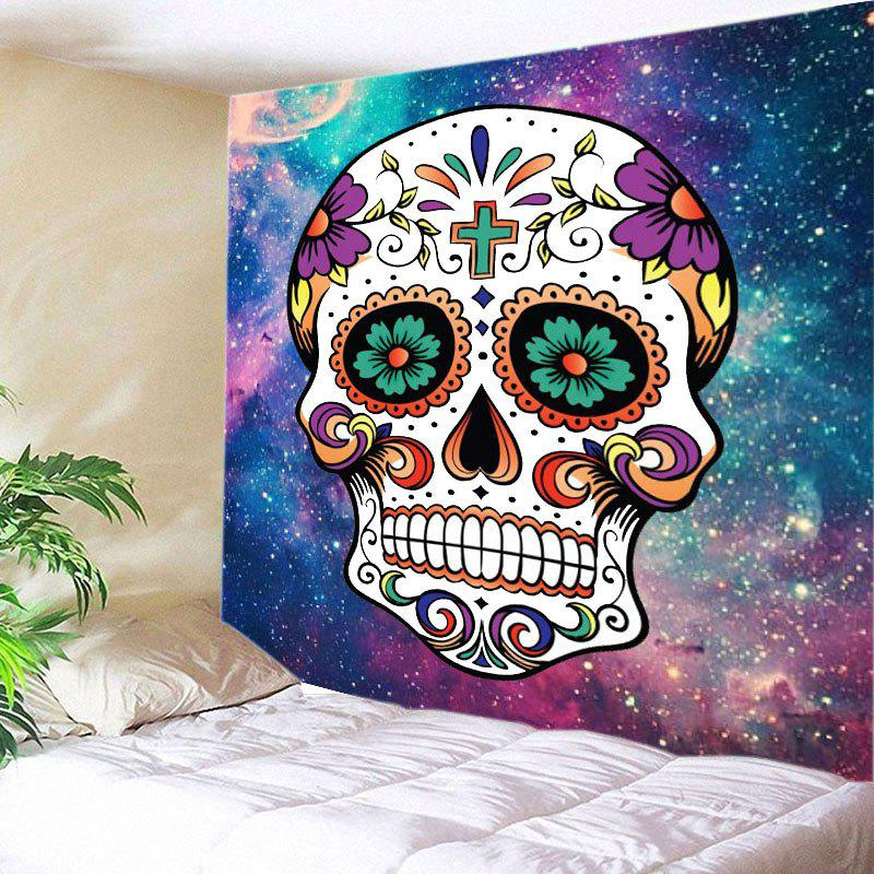 Galaxy Floral Skull Print Tapestry Wall Hanging Art DecorationHOME<br><br>Size: W59 INCH * L51 INCH; Color: COLORMIX; Style: Fashion; Theme: Florals,Halloween; Material: Polyester; Feature: Washable; Shape/Pattern: Floral,Skull; Weight: 0.3000kg; Package Contents: 1 x Skull;