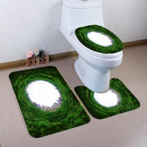 Tree Holes City Pattern 3 Pcs Bath Mat Toilet Mat