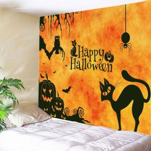 Happy Halloween Animals Print Tapestry Wall Hanging Art Decoration - Deep Yellow - W91 Inch * L71 Inch