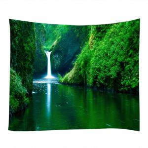 Mountain Streams Falls Print Tapestry Wall Hanging Art Décoration - Vert Largeur 59pouces*Longeur 51pouces