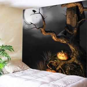 Halloween Moon Tree Print Tapestry Wall Hanging Art Decoration - Black - W91 Inch * L71 Inch