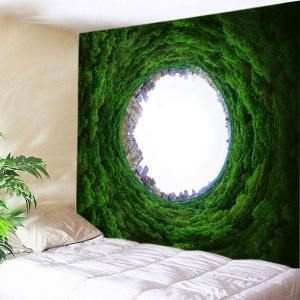 Trees Hole City Print Tapestry Wall Hanging Art Decoration - Green - W91 Inch * L71 Inch