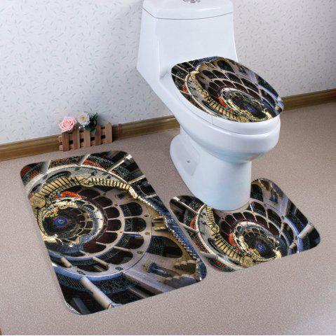 New European Style Buildings Pattern 3 Pcs Bath Mat Toilet Mat COLORMIX