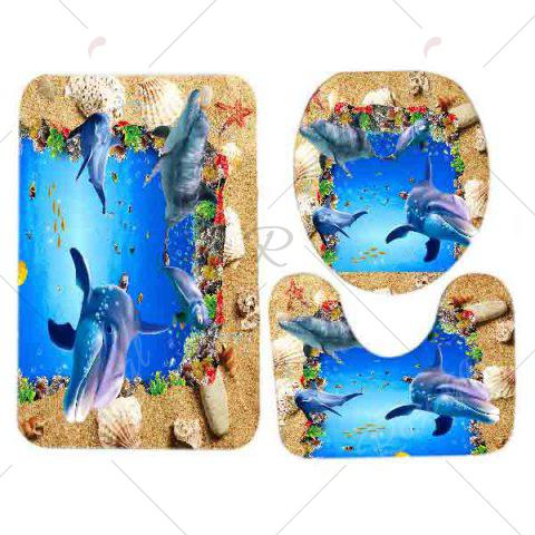 New Beach Ocean Dolphin Pattern 3 Pcs Bath Mat Toilet Mat - BLUE  Mobile