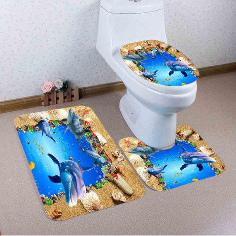 Affordable Beach Ocean Dolphin Pattern 3 Pcs Bath Mat Toilet Mat - BLUE  Mobile