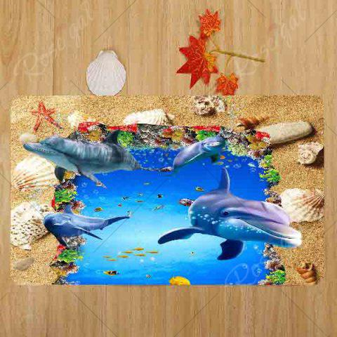 Trendy Beach Ocean Dolphin Pattern 3 Pcs Bath Mat Toilet Mat - BLUE  Mobile