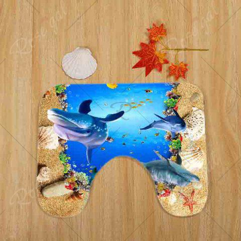 Cheap Beach Ocean Dolphin Pattern 3 Pcs Bath Mat Toilet Mat - BLUE  Mobile
