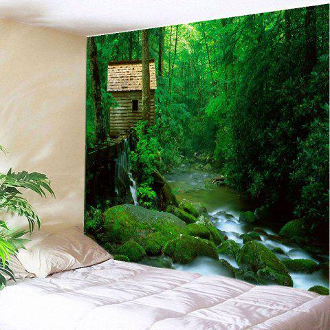 Forest Stream Print Tapestry Wall Hanging Art Decoration - Green - W91 Inch * L71 Inch