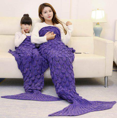 Fish Scale Knitted Parent-child Mermaid Blanket - Purple - 180*145cm