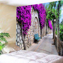 Floral Stone Wall Path Print Tapestry Wall Hanging Art Decoration