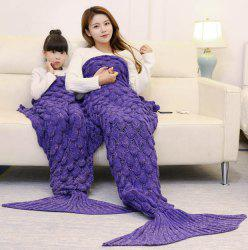 Fish Scale Knitted Parent-child Mermaid Blanket -