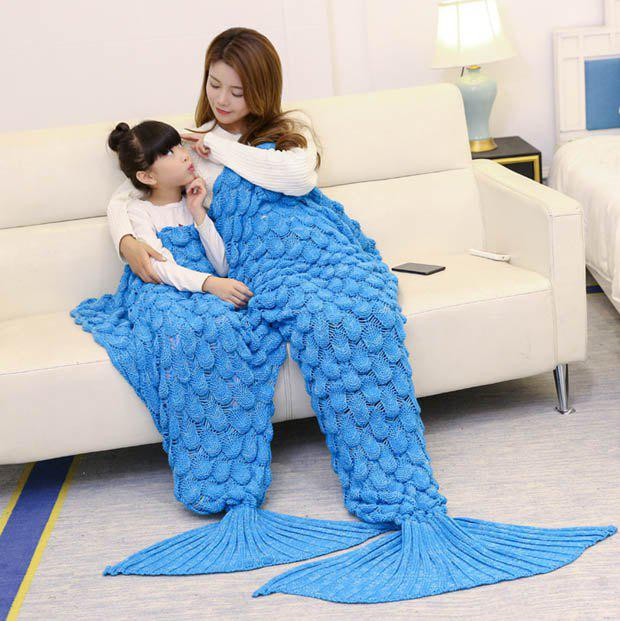Shops Fish Scale Knitted Parent-child Mermaid Blanket