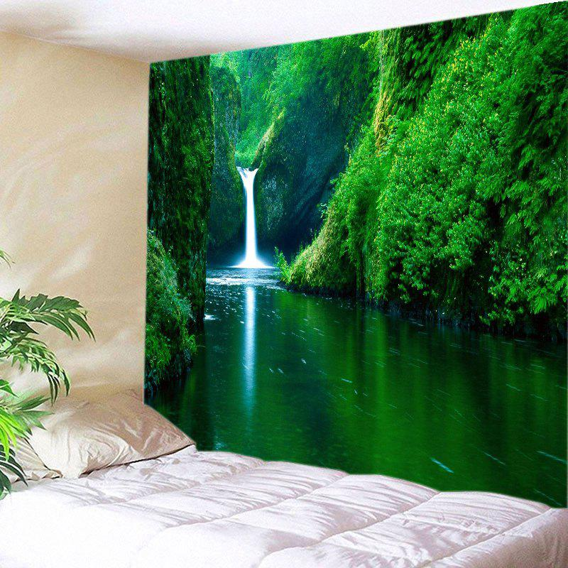 Mountain Streams Falls Print Tapestry Wall Hanging Art DecorationHOME<br><br>Size: W59 INCH * L51 INCH; Color: GREEN; Style: Natural; Theme: Landscape; Material: Polyester; Feature: Washable; Shape/Pattern: Plant; Weight: 0.3000kg; Package Contents: 1 x Tapestry;