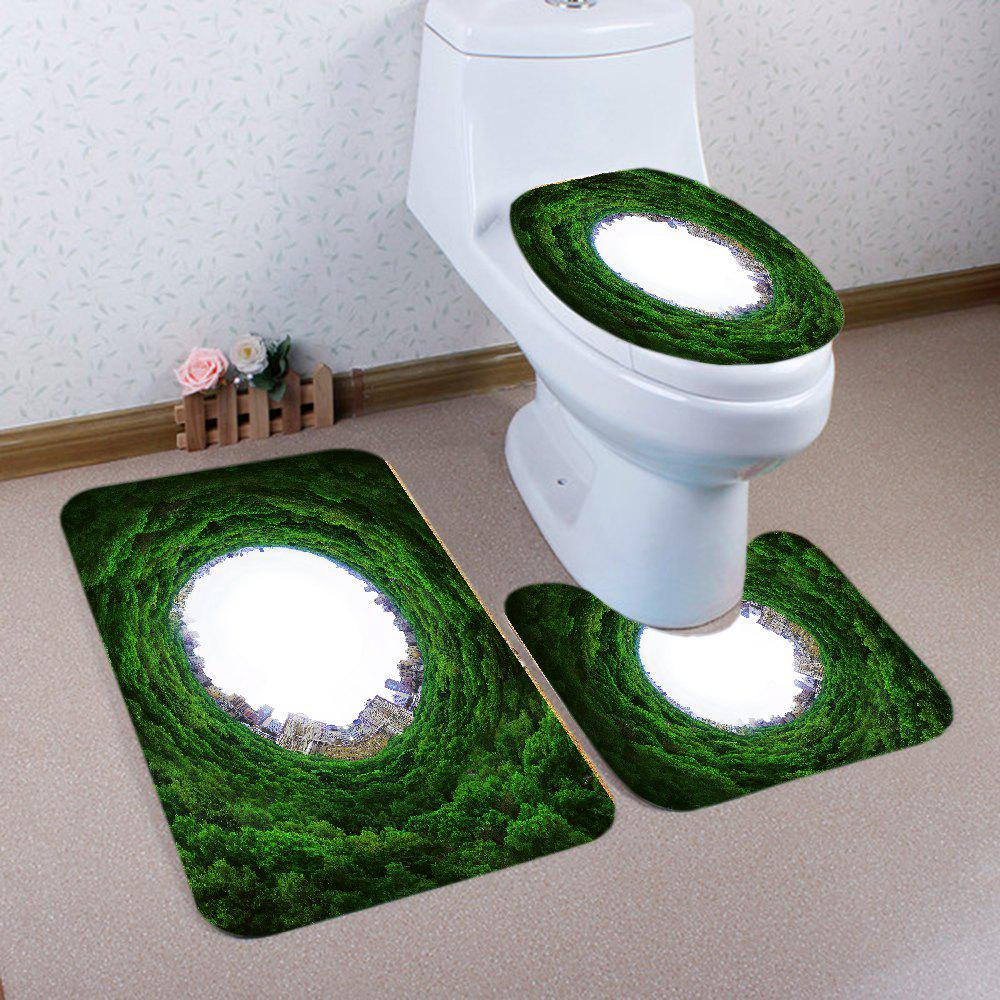 Online Tree Holes City Pattern 3 Pcs Bath Mat Toilet Mat