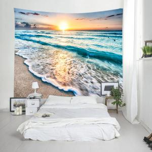 Sunrise Beach Waves Print Tapestry Wall Hanging Art Decoration - LAKE BLUE W91 INCH * L71 INCH