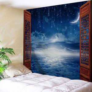 Window Moon Starry Sky Print Tapestry Wall Hanging Art Decoration