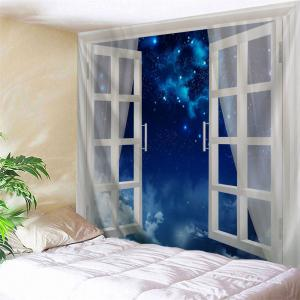 Window Starry Night Print Tapestry Wall Hanging Art Decoration