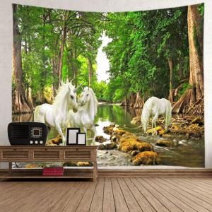 Forest River Unicorn Print Tapestry Wall Hanging Art Decoration -
