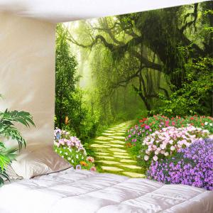 Floral Forest Path Print Tapestry Wall Hanging Art Decoration - Green - W91 Inch * L71 Inch