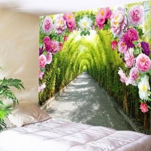 Flowers Bamboo Forest Path Print Tapestry Wall Hanging Art Decoration - Green - W91 Inch * L71 Inch