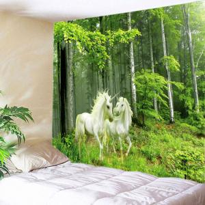 Forest Unicorns Print Tapestry Wall Hanging Art Decoration - Green - W79 Inch * L59 Inch