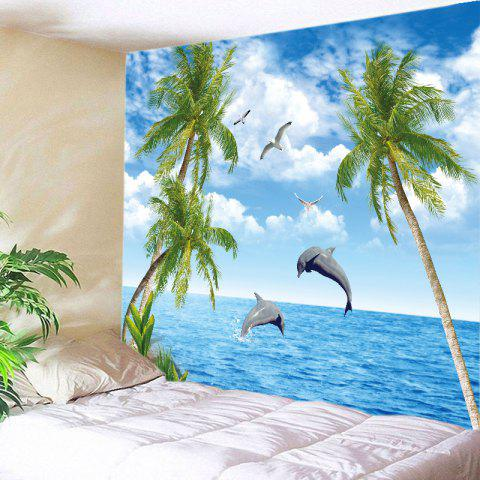 Trees Ocean Dolphin Print Tapestry Wall Hanging Art Decoration - Blue - W91 Inch * L71 Inch