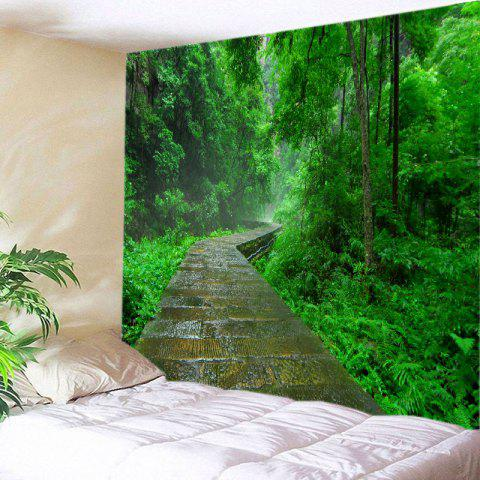 Forest Stone Path Print Tapestry Wall Hanging Art Decoration - Green - W91 Inch * L71 Inch